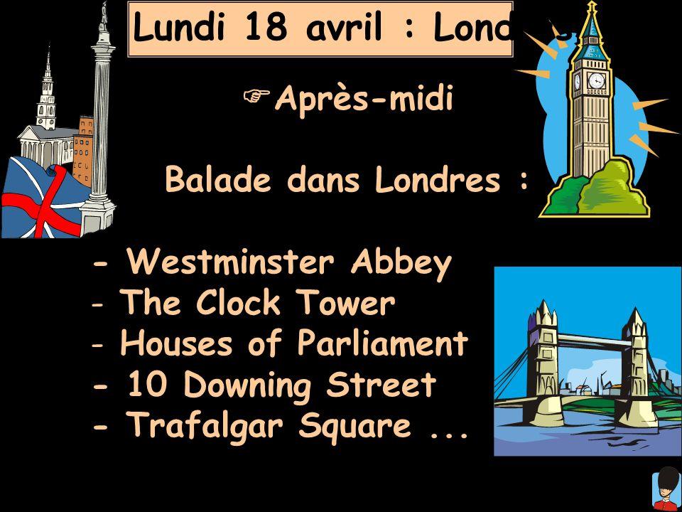 Lundi 18 avril : Londres Après-midi Balade dans Londres :