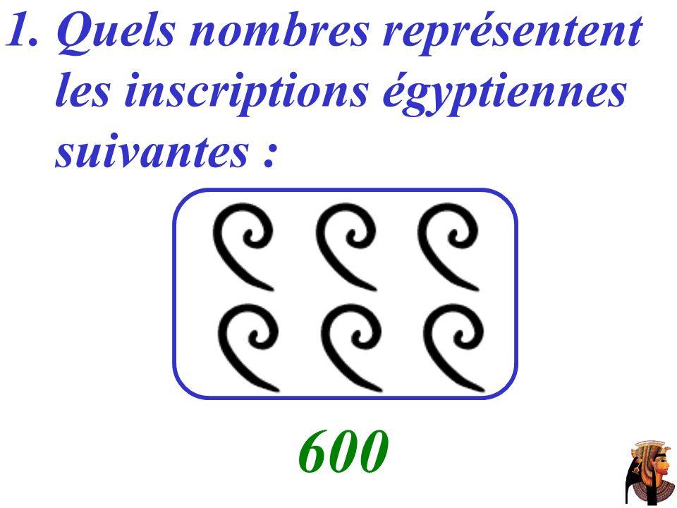 600 Quels nombres représentent les inscriptions égyptiennes