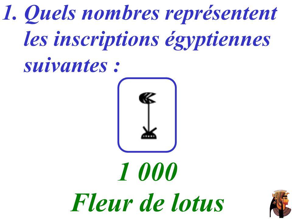 1 000 Fleur de lotus Quels nombres représentent