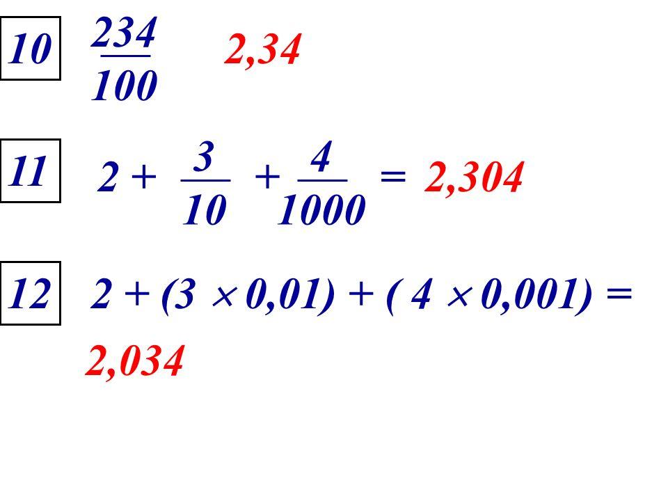 234 100 10 2,34 2 + 3 10 4 1000 + = 11 2,304 12 2 + (3  0,01) + ( 4  0,001) = 2,034