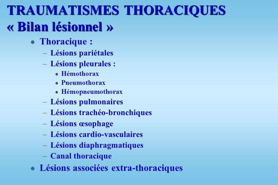 TRAUMATISMES THORACIQUES « Bilan lésionnel »