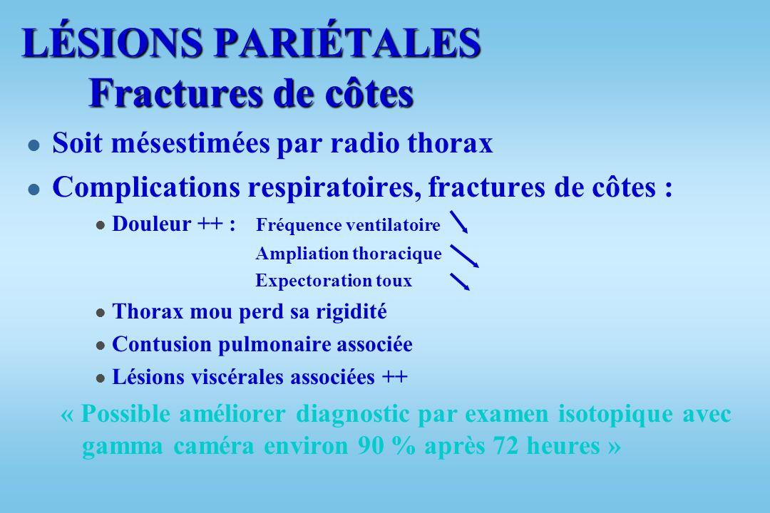LÉSIONS PARIÉTALES Fractures de côtes