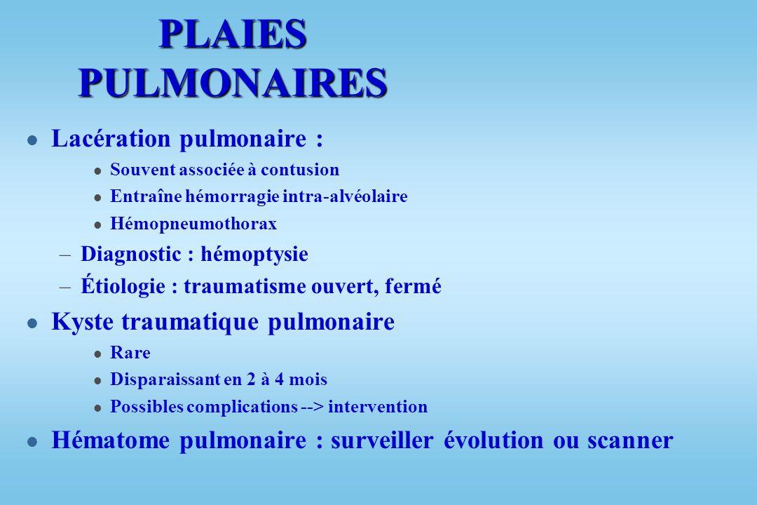 PLAIES PULMONAIRES Lacération pulmonaire :