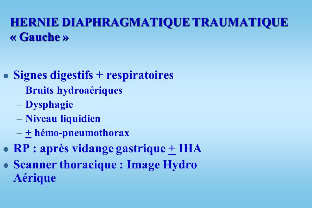 HERNIE DIAPHRAGMATIQUE TRAUMATIQUE « Gauche »