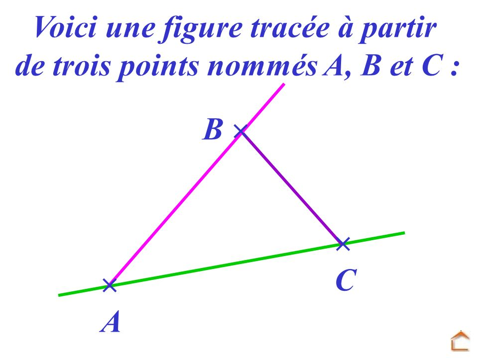 Voici une figure tracée à partir de trois points nommés A, B et C :