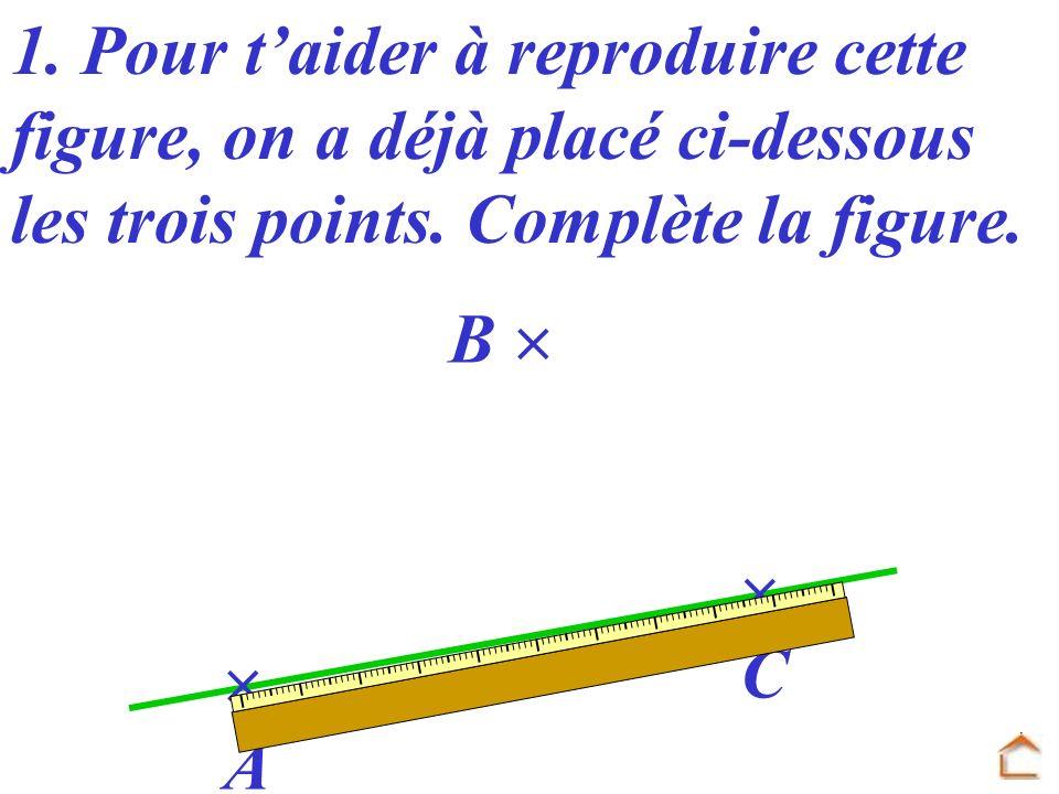 1. Pour t'aider à reproduire cette figure, on a déjà placé ci-dessous les trois points. Complète la figure.
