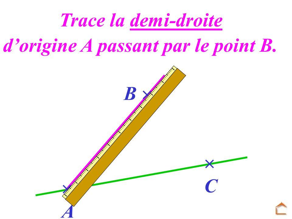 Trace la demi-droite d'origine A passant par le point B. B   C  A
