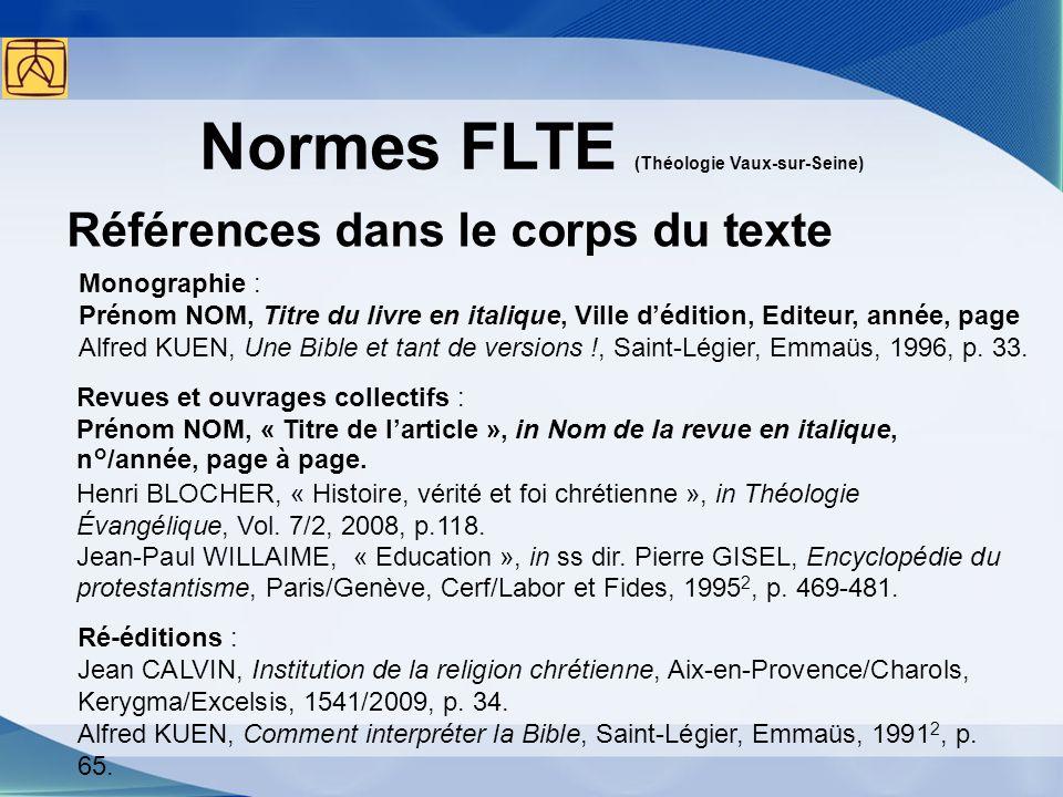 Normes FLTE (Théologie Vaux-sur-Seine)