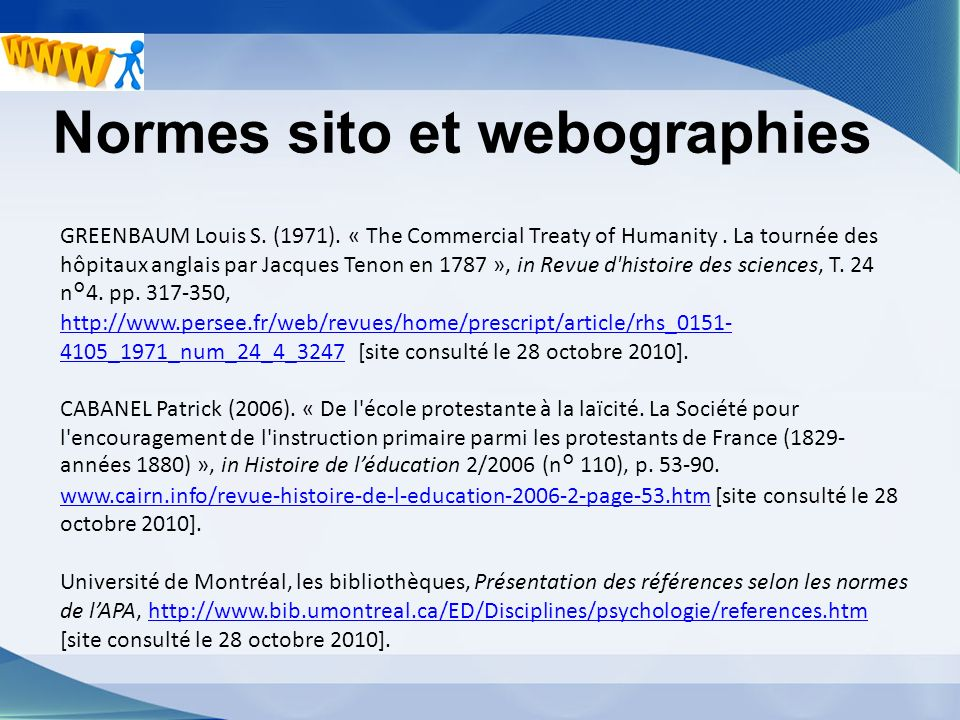 Normes sito et webographies