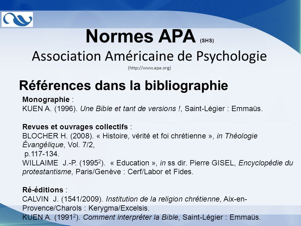 Association Américaine de Psychologie (