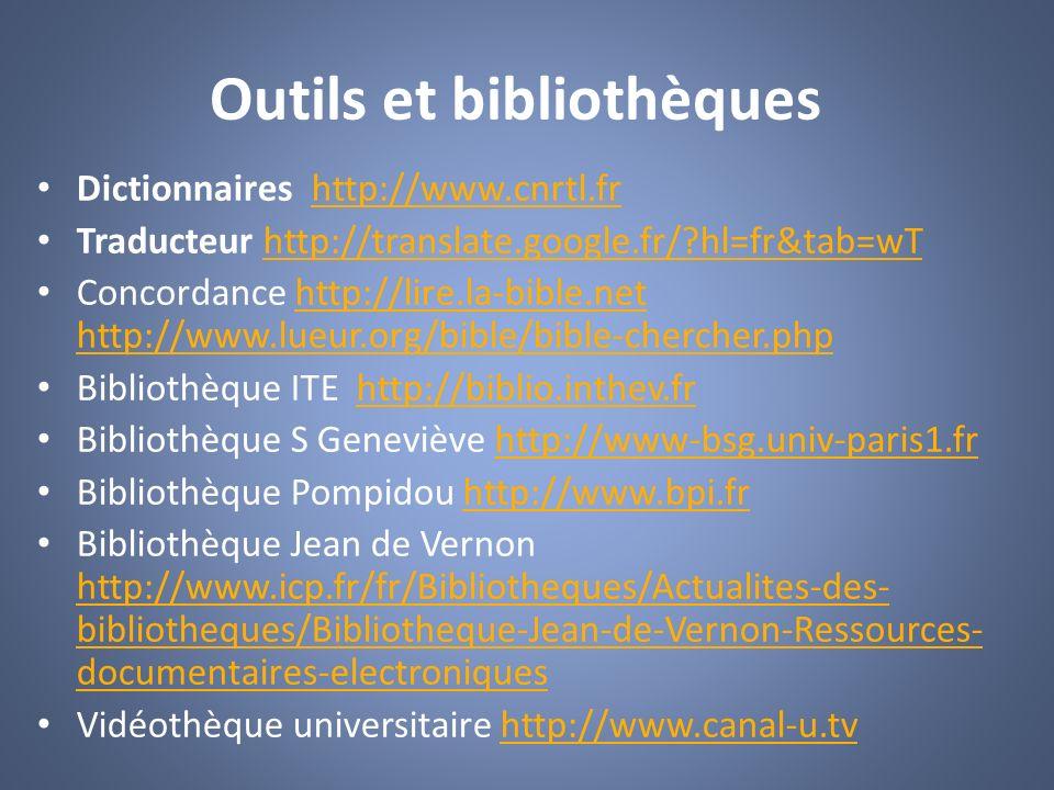 Outils et bibliothèques