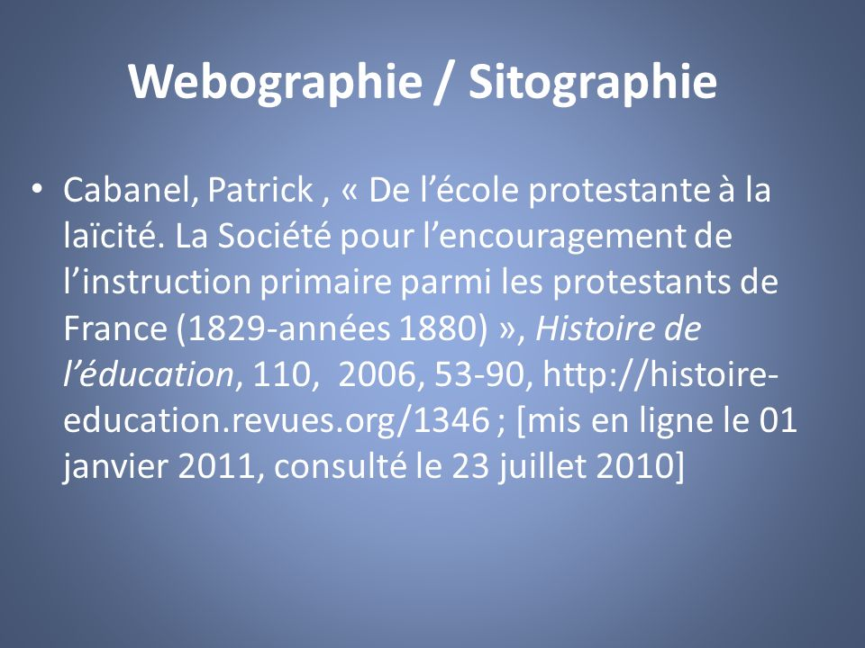 Webographie / Sitographie
