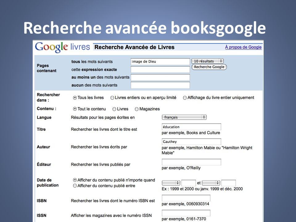 Recherche avancée booksgoogle