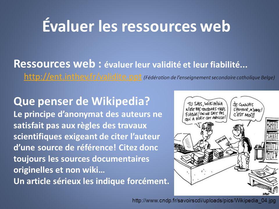 Évaluer les ressources web