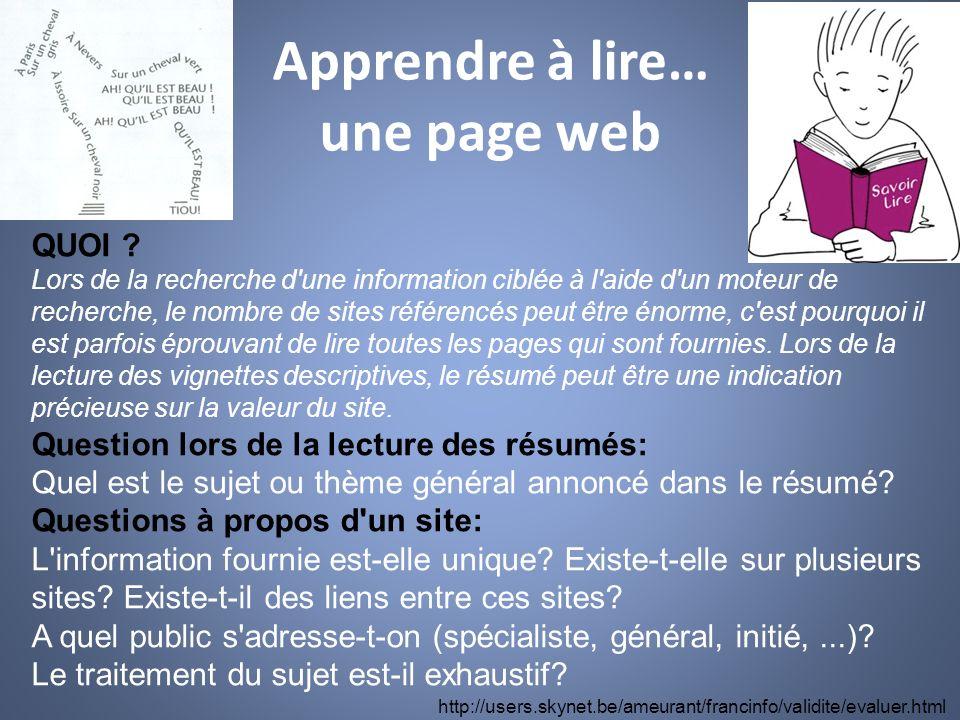 Apprendre à lire… une page web