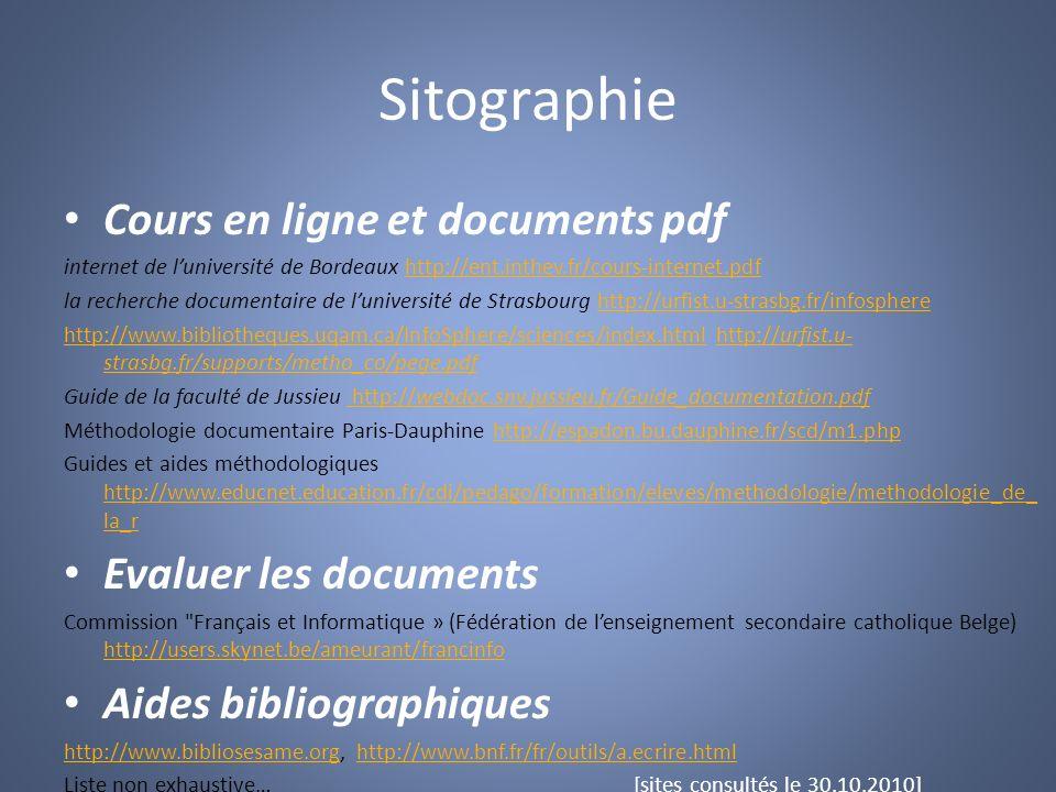 Sitographie Cours en ligne et documents pdf Evaluer les documents