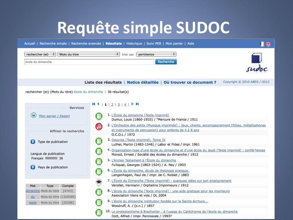 Requête simple SUDOC SUDOC http://www.sudoc.abes.fr