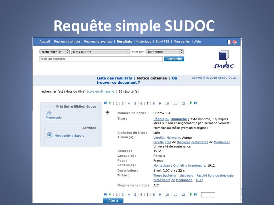 Requête simple SUDOC