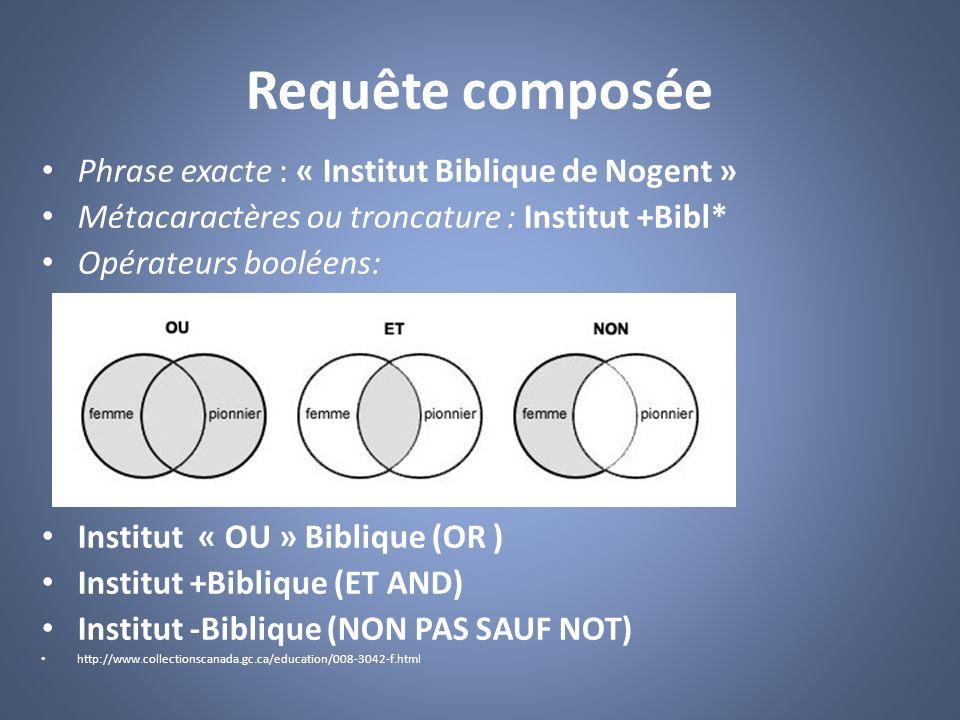 Requête composée Phrase exacte : « Institut Biblique de Nogent »