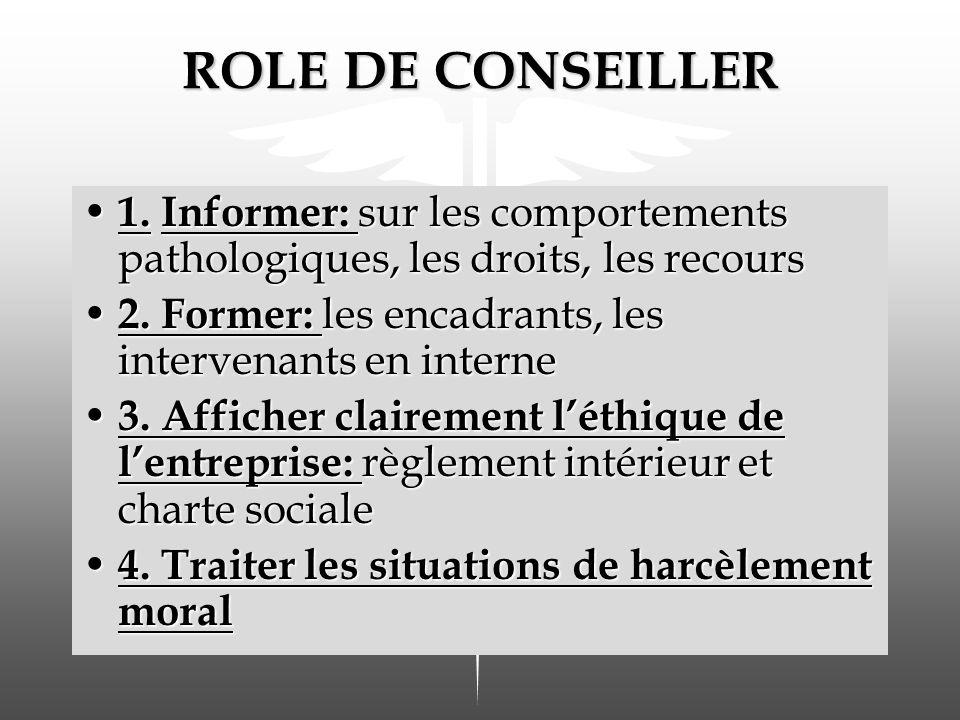 ROLE DE CONSEILLER 1. Informer: sur les comportements pathologiques, les droits, les recours. 2. Former: les encadrants, les intervenants en interne.