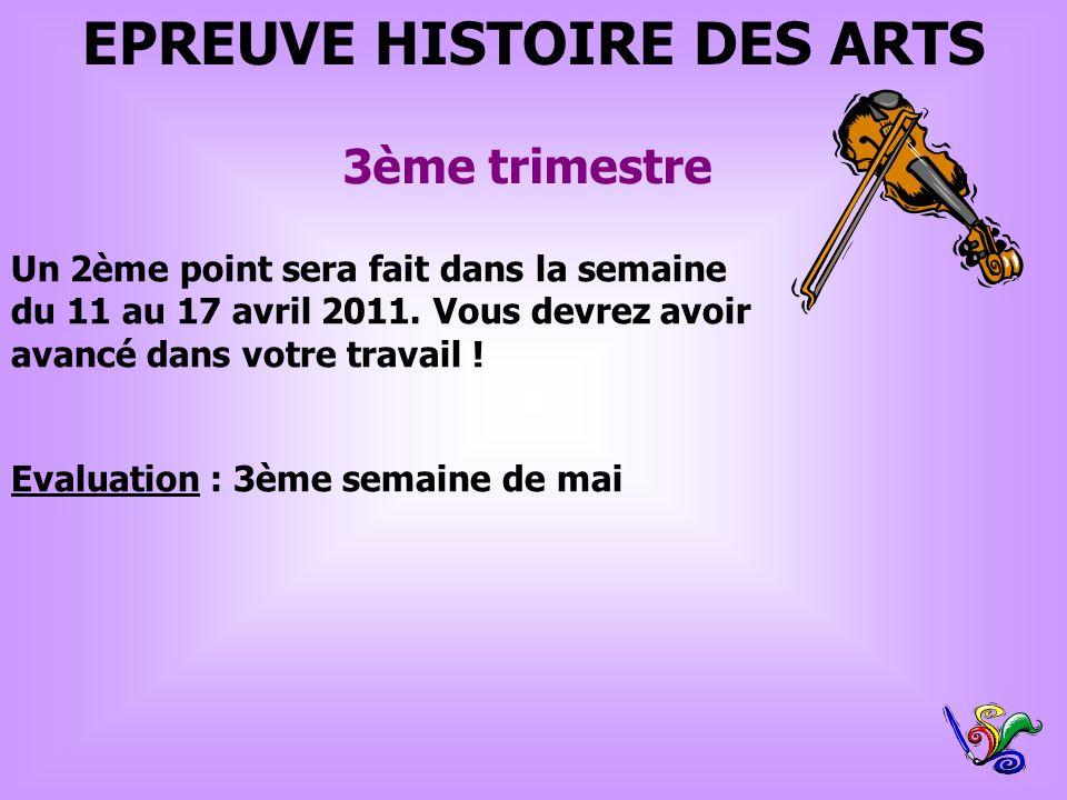 EPREUVE HISTOIRE DES ARTS