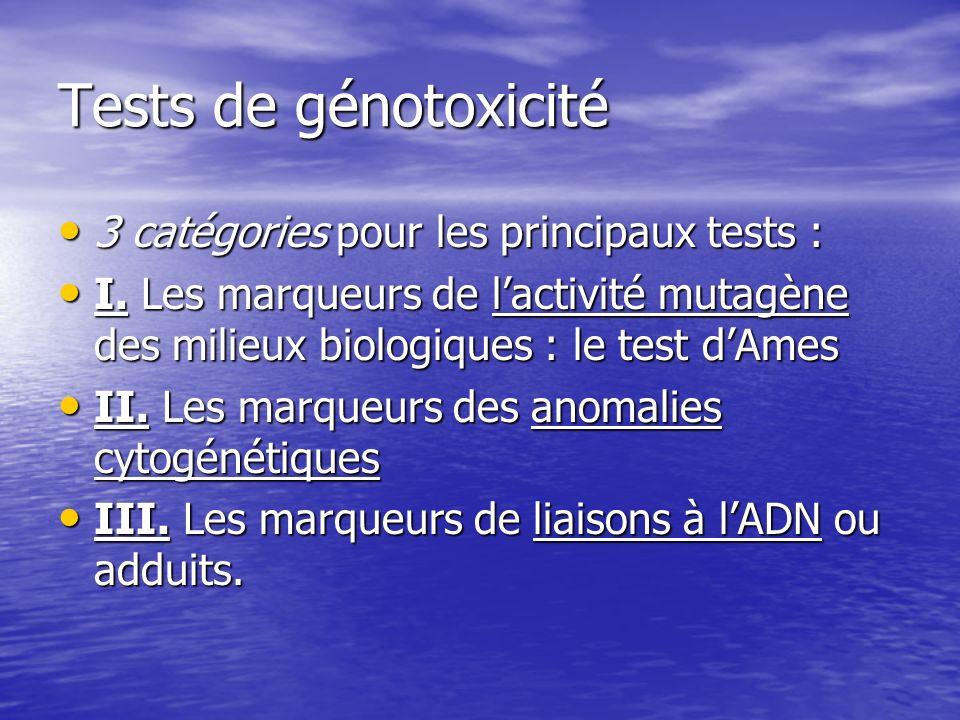 Tests de génotoxicité 3 catégories pour les principaux tests :