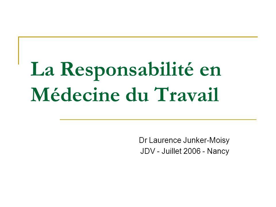 La Responsabilité en Médecine du Travail