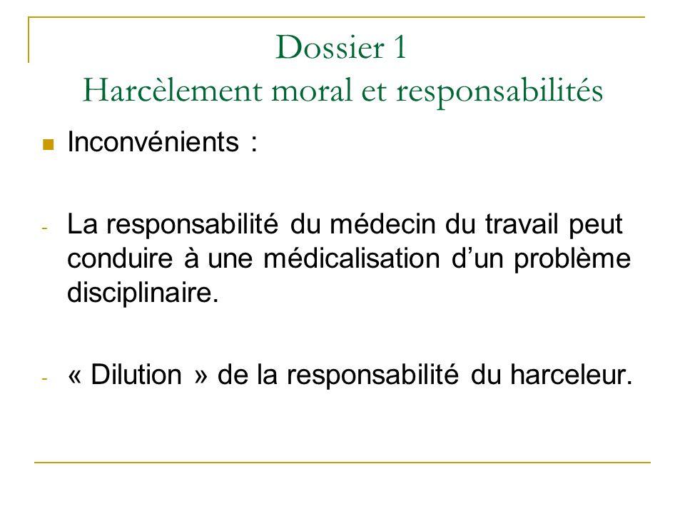 Dossier 1 Harcèlement moral et responsabilités
