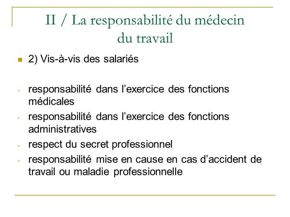 II / La responsabilité du médecin du travail