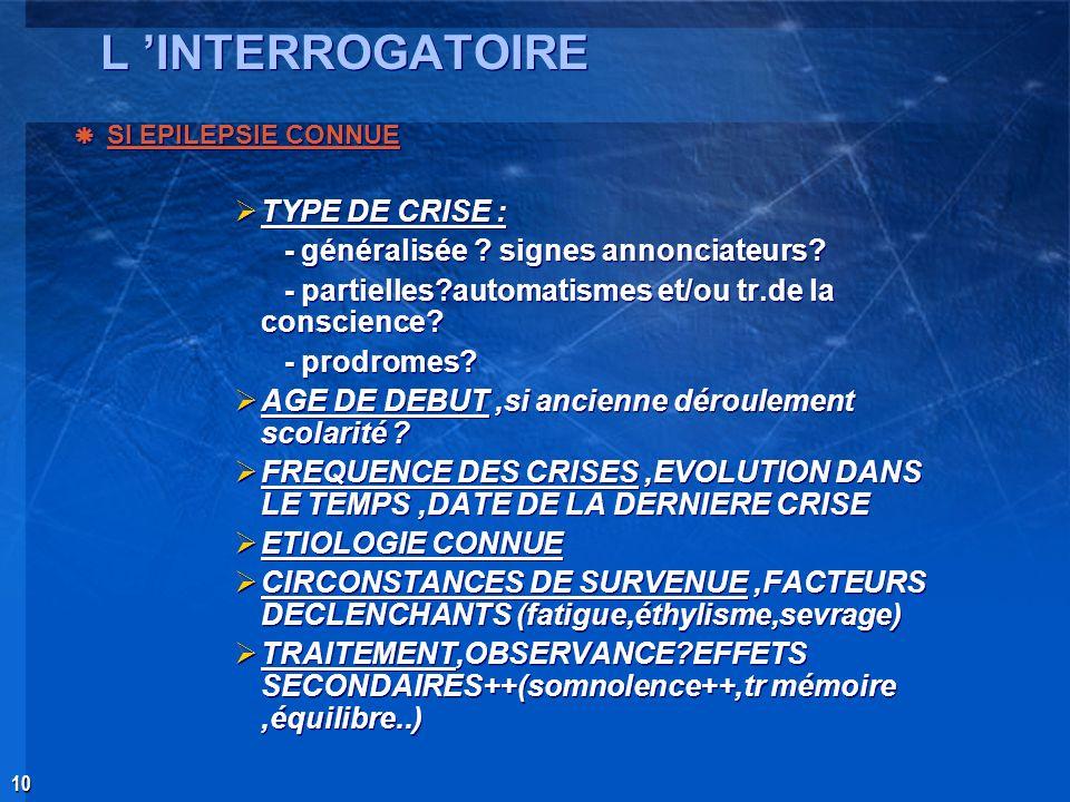L 'INTERROGATOIRE TYPE DE CRISE :