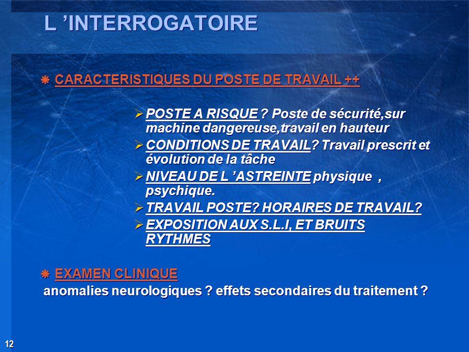 L 'INTERROGATOIRE CARACTERISTIQUES DU POSTE DE TRAVAIL ++