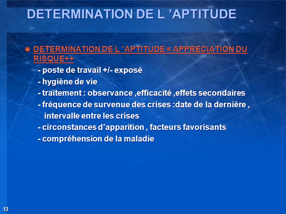 DETERMINATION DE L 'APTITUDE