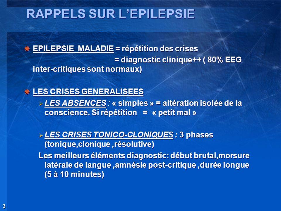 RAPPELS SUR L'EPILEPSIE