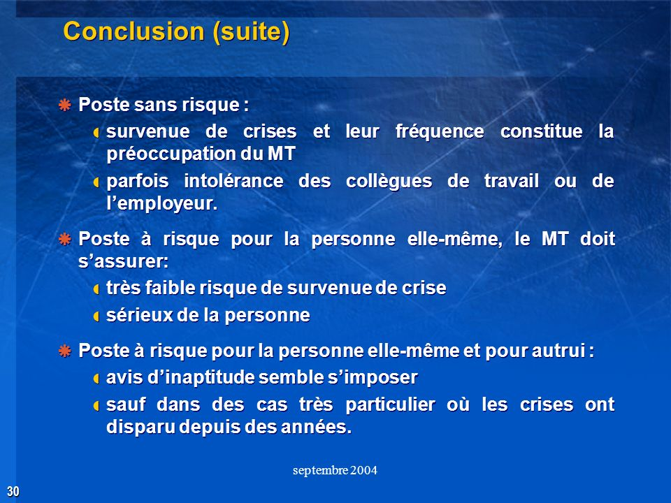 Conclusion (suite) Poste sans risque :