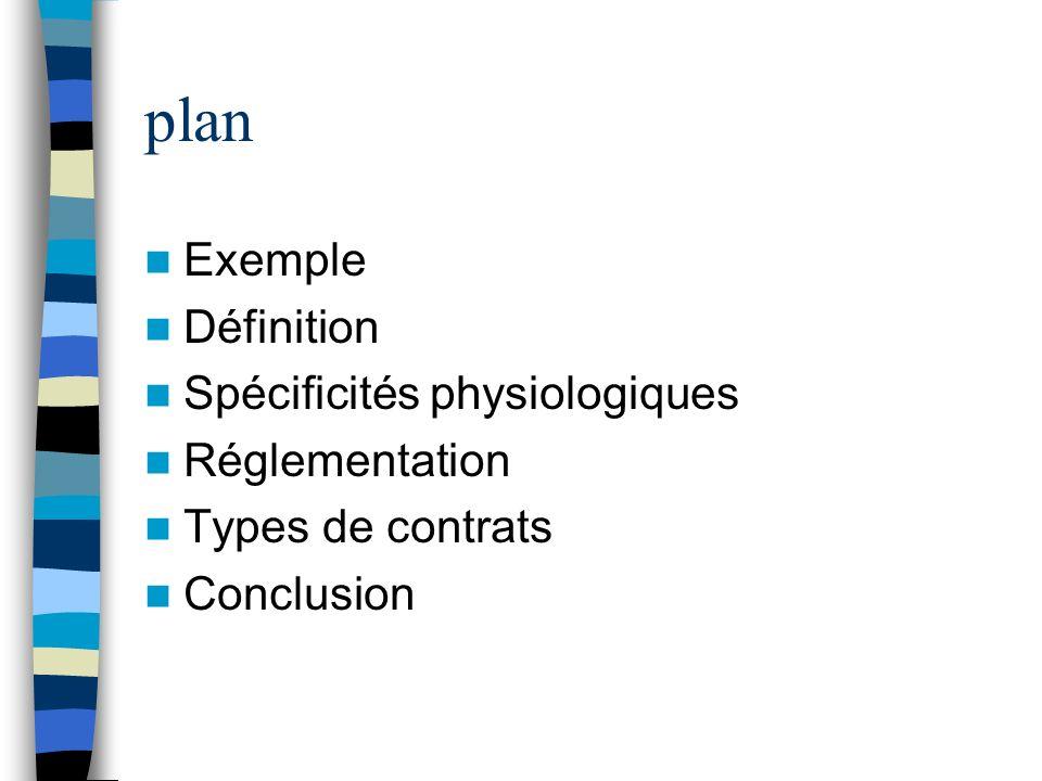 plan Exemple Définition Spécificités physiologiques Réglementation