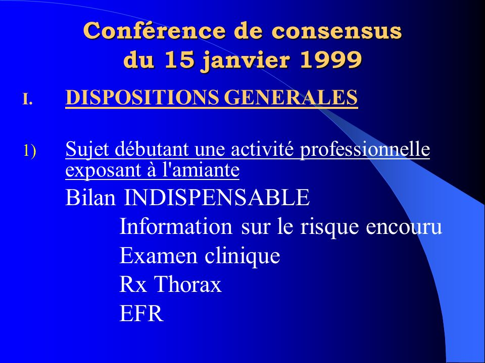 Conférence de consensus du 15 janvier 1999