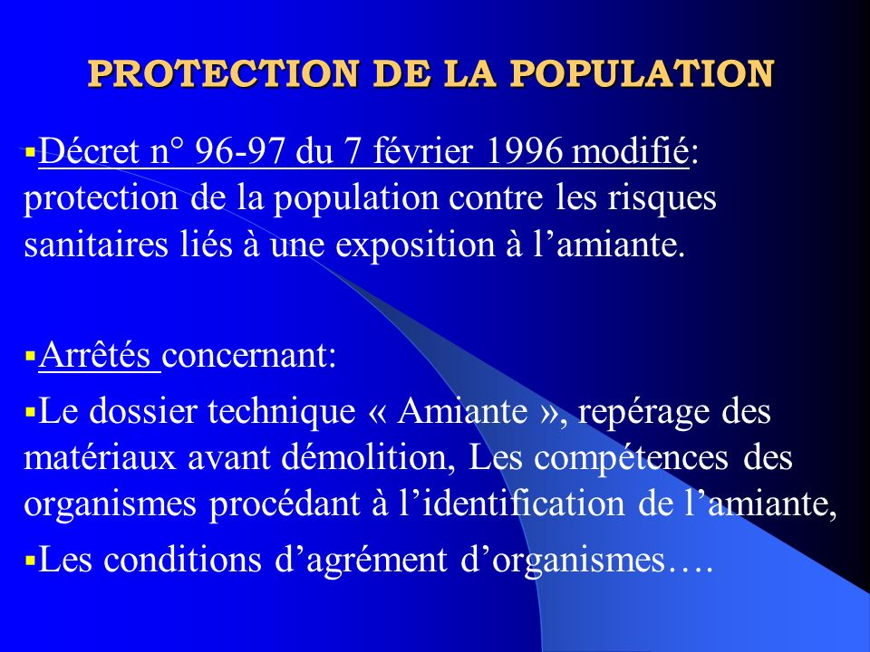 PROTECTION DE LA POPULATION
