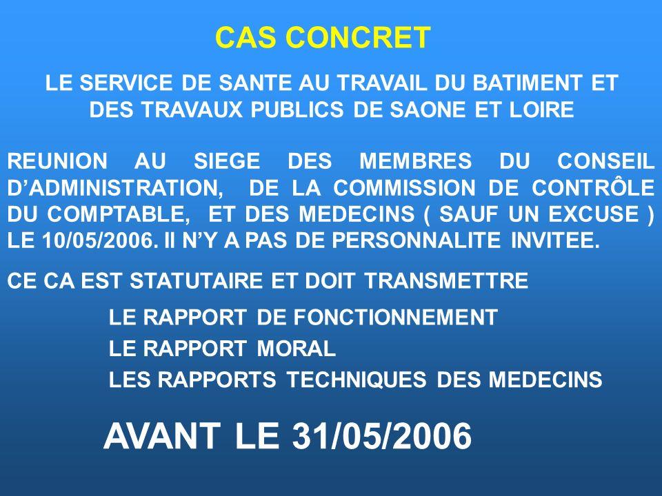 CAS CONCRET LE SERVICE DE SANTE AU TRAVAIL DU BATIMENT ET DES TRAVAUX PUBLICS DE SAONE ET LOIRE.