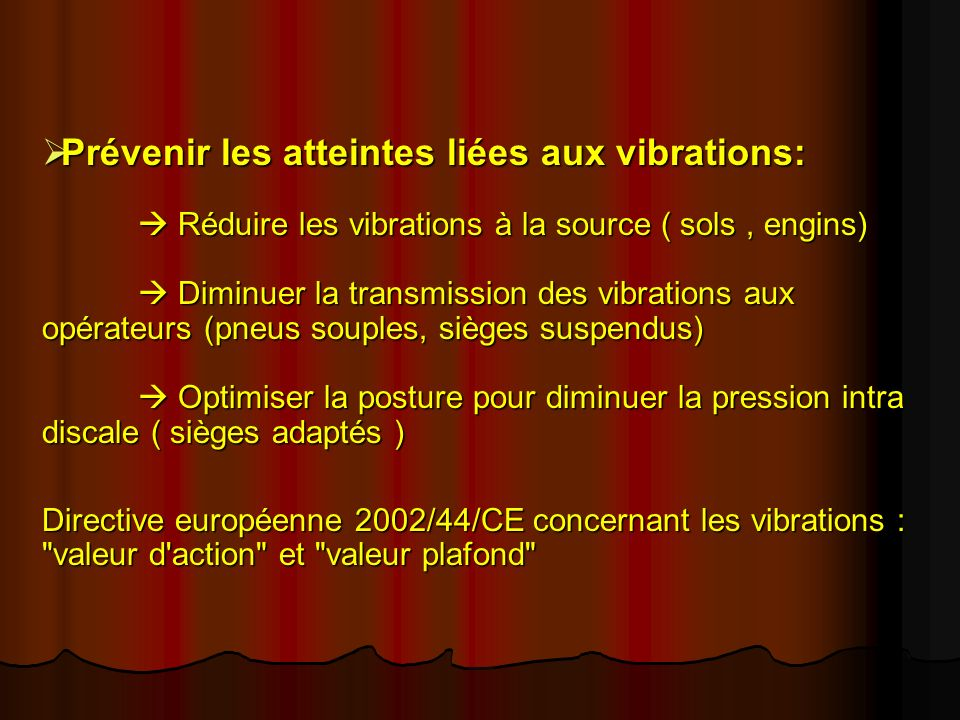 Prévenir les atteintes liées aux vibrations: