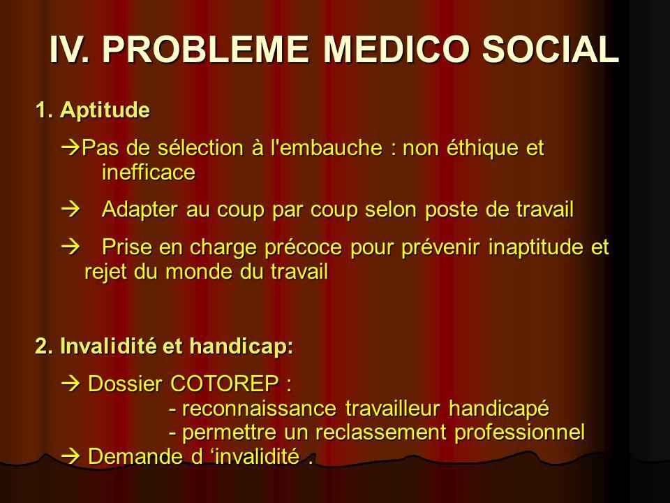 IV. PROBLEME MEDICO SOCIAL