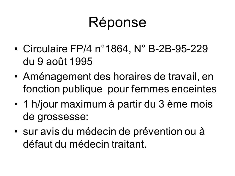 Réponse Circulaire FP/4 n°1864, N° B-2B-95-229 du 9 août 1995