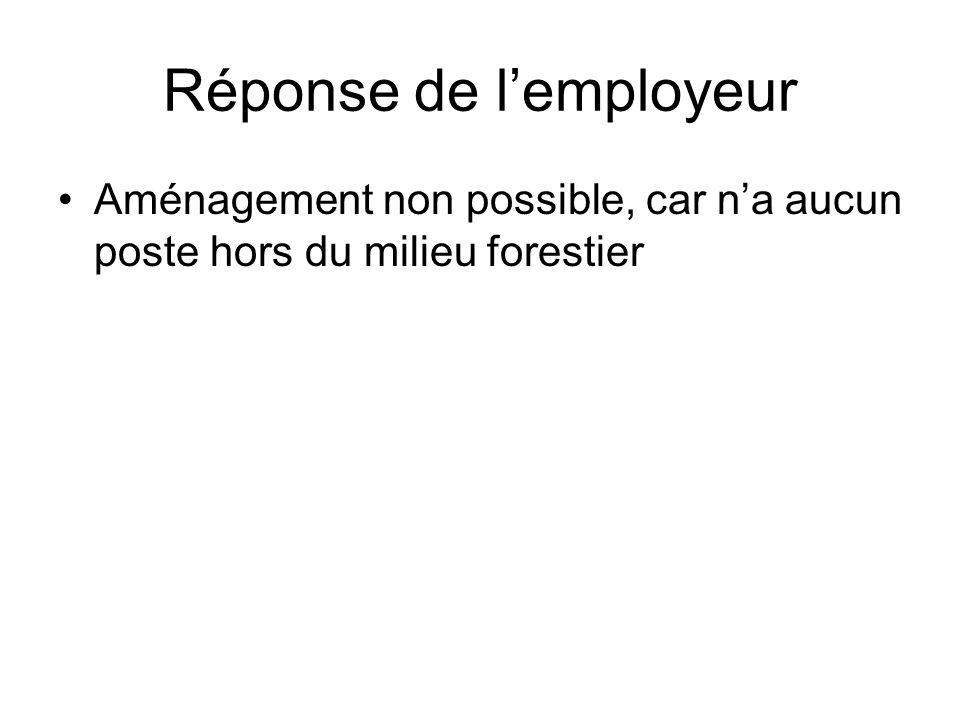 Réponse de l'employeur