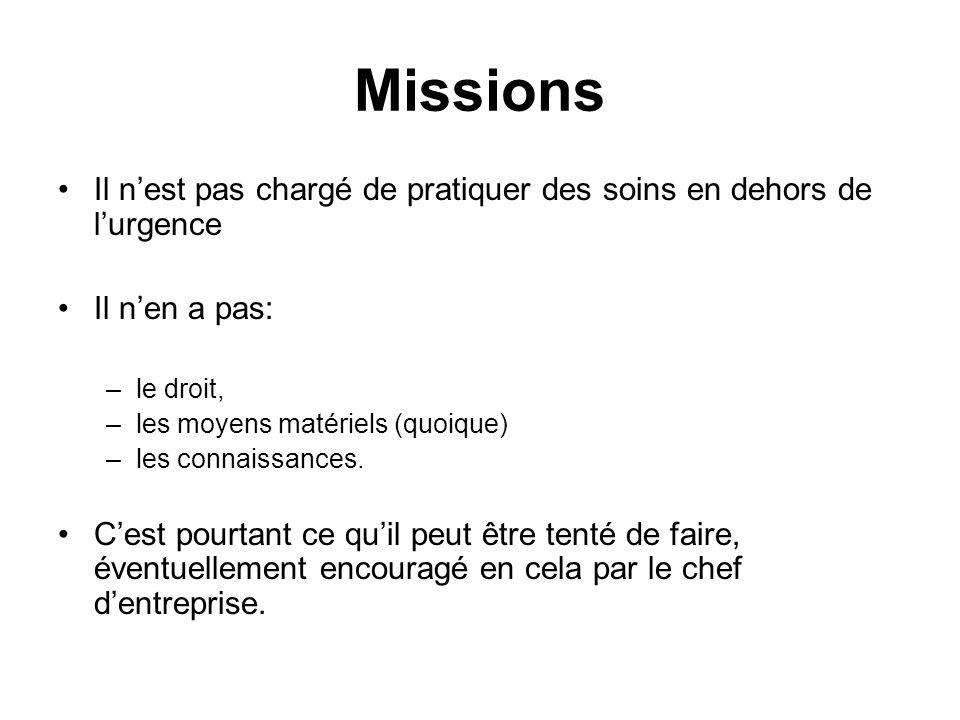 Missions Il n'est pas chargé de pratiquer des soins en dehors de l'urgence. Il n'en a pas: le droit,