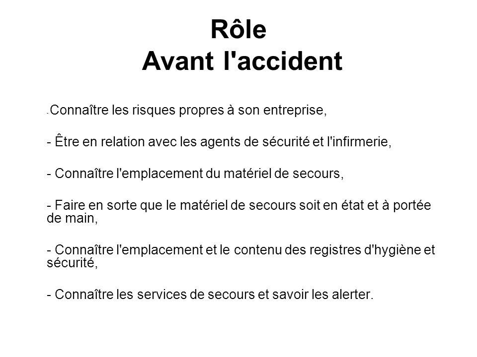 Rôle Avant l accident - Connaître les risques propres à son entreprise, - Être en relation avec les agents de sécurité et l infirmerie,
