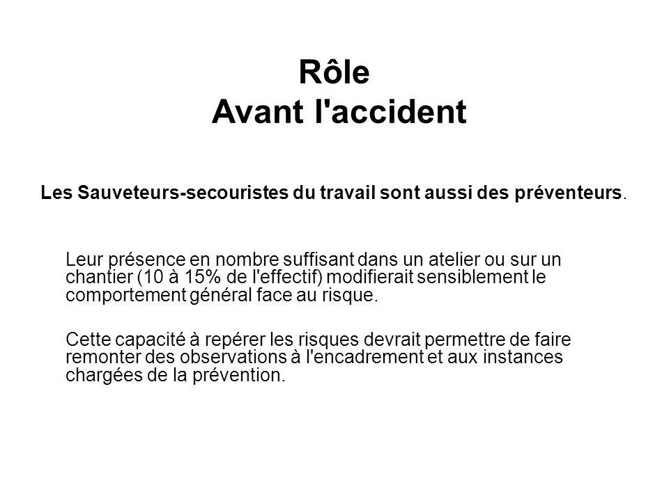 Rôle Avant l accident Les Sauveteurs-secouristes du travail sont aussi des préventeurs.