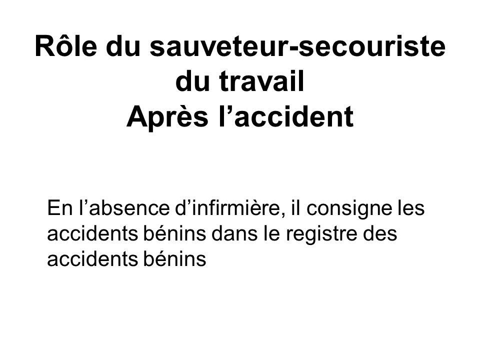 Rôle du sauveteur-secouriste du travail Après l'accident