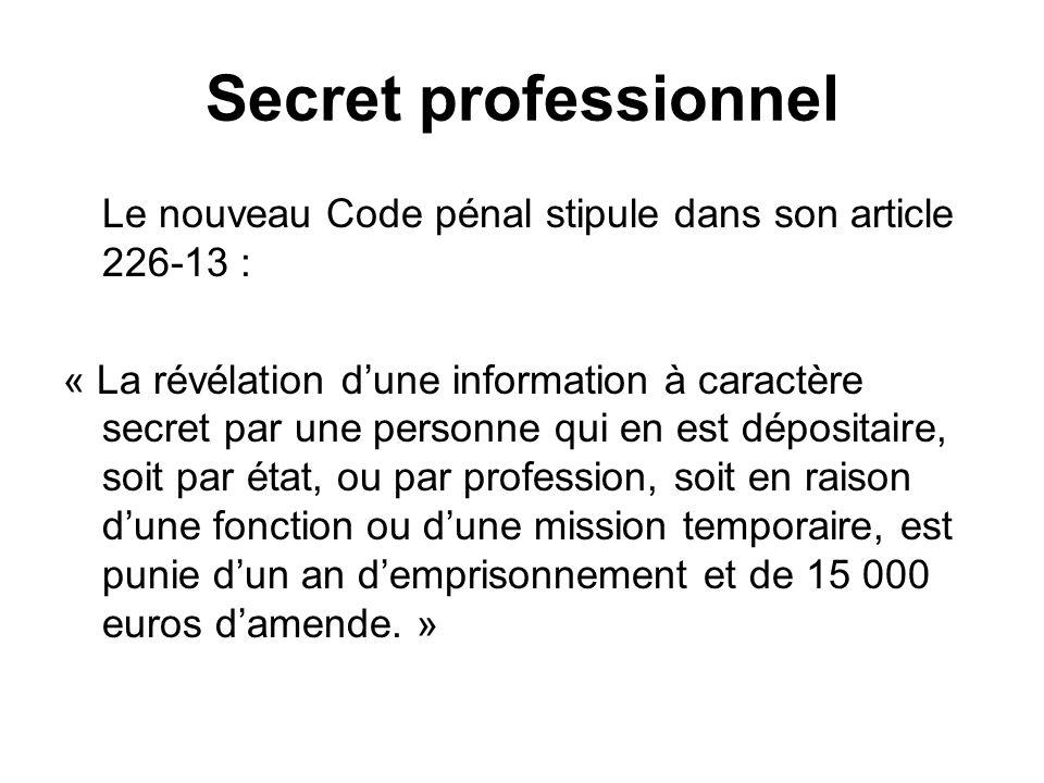 Secret professionnel Le nouveau Code pénal stipule dans son article 226-13 :