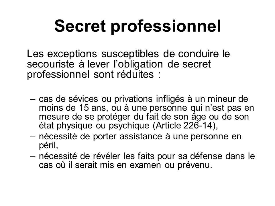 Secret professionnel Les exceptions susceptibles de conduire le secouriste à lever l'obligation de secret professionnel sont réduites :