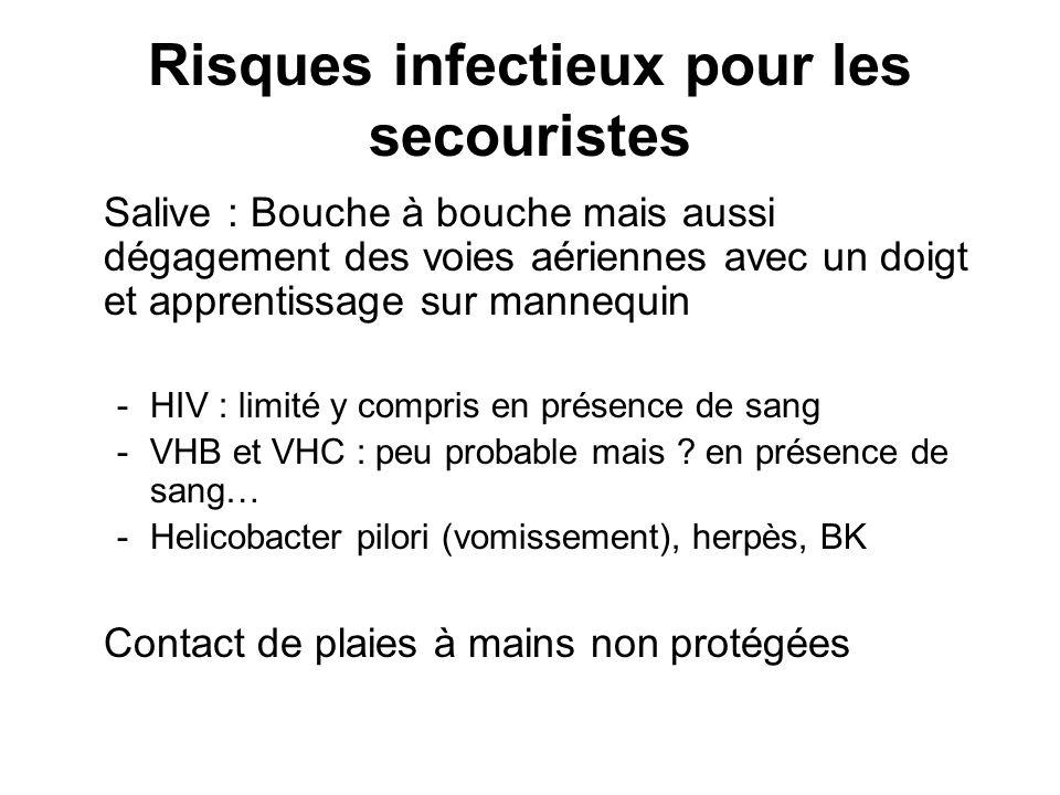 Risques infectieux pour les secouristes