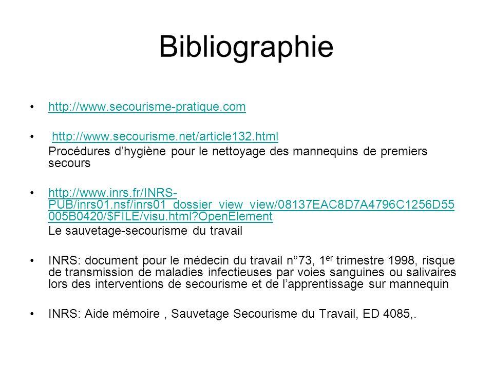 Bibliographie http://www.secourisme-pratique.com